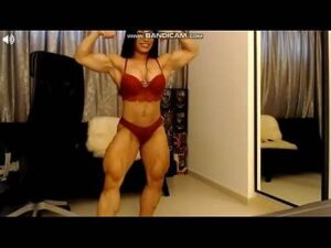 Asian Muscle Cam Girl Flexes Her Big Biceps And Legs