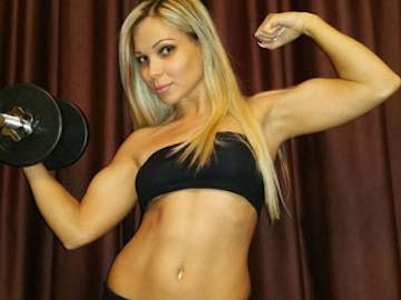 Blonde Muscle Cam Beauty BarbieFace
