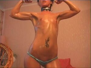Lean Fit Teen Oils Up And Poses Naked