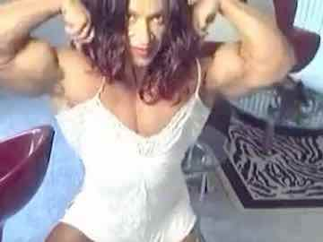 Professional Female Bodybuilder Colette Muscle Flex Show
