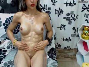 Ripped Hispanic Girl Muscle Oil Show