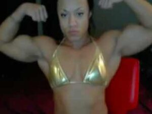 Muscle Black Cam Girl KayGee Pec And Arm Flexing