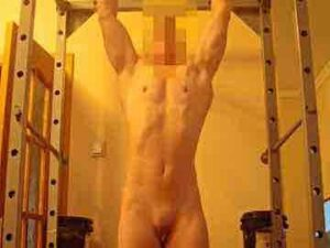 Strong Female Bodybuilder Working Out Naked Before Masturbation