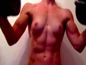 19yo British Muscle Cam Girl Nude Dumbbell Workout