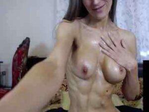 Fitness Brunette Naked Oil Session