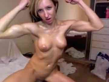 Horny Teen Girl Nat Oils Up And Flexes Her Muscles