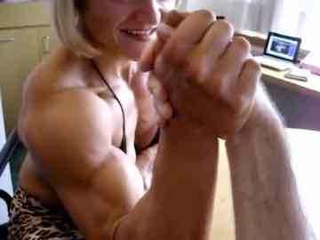 Blonde Female Bodybuilder Mixed Arm Wrestling