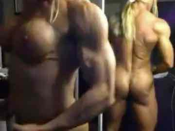 My Blonde FBB Strips And Flexes In Front Of The Mirror