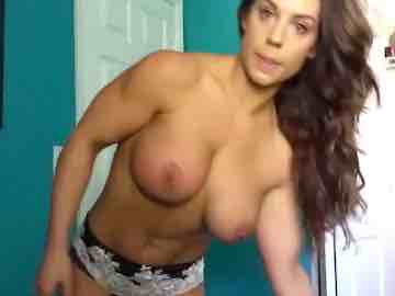 Strong Brunette Gets Topless Live