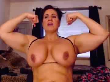 Thick Muscle Milf Laurie Flexing Big Boobs And Arms