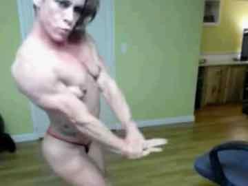 Mature Female Bodybuilder Does Webcam Show