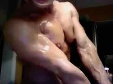 Muscular Blonde Flexing After Stripping Down