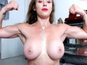 Big Breasted British Milf Shows Off Her Muscles