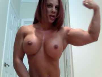 Big Breasted Female Bodybuilder Topless Flexing