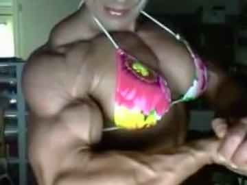 Female Bodybuilder Showing Her Strength