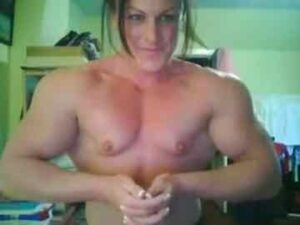 Muscle Babe Biceps And Pecs Flexing
