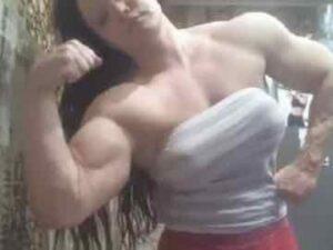Muscle Cam Girl Flexing Her Huge Biceps