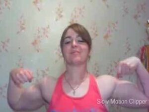 Russian Muscle Lady Flex In Slow Motion