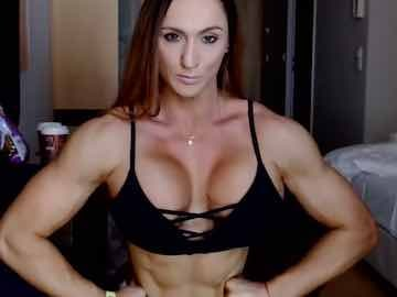 Muscle Babe Flexing Pecs And Biceps On Cam